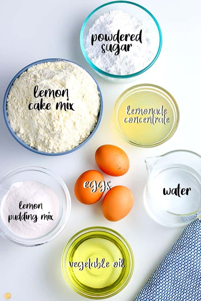 overhead picture of lemonade cake ingredients with labels