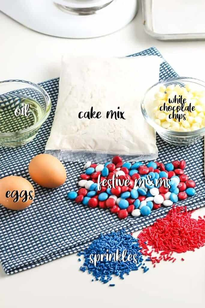 labeled ingredients for cake batter cookies