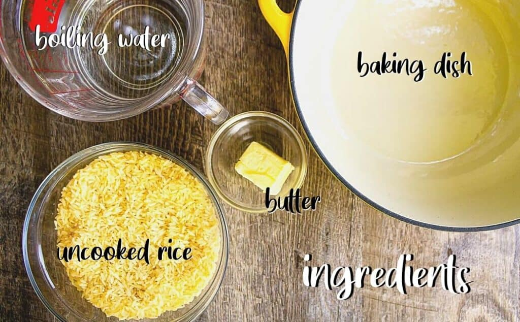 labeled ingredients for baked rice