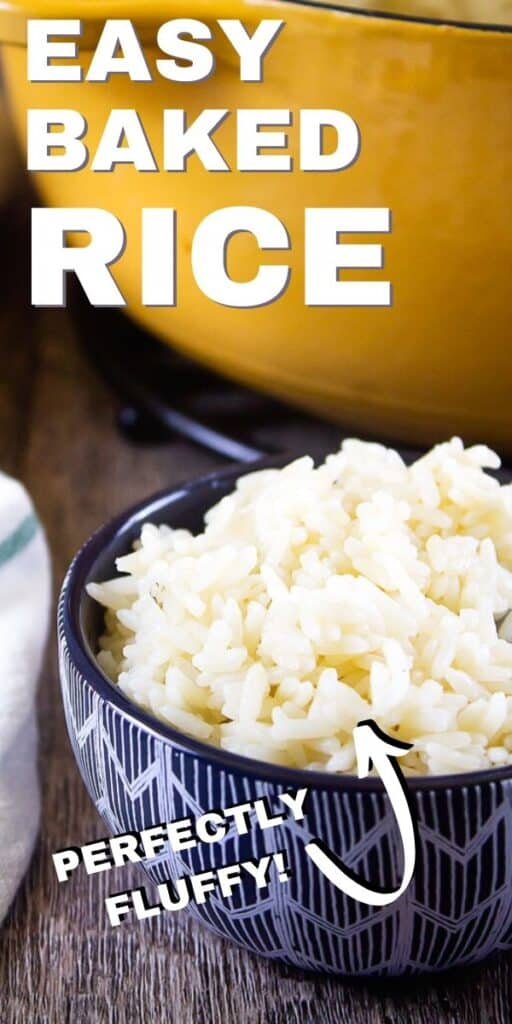 "Pinterest image for baked rice with text ""easy baked rice - perfectly fluffy"""