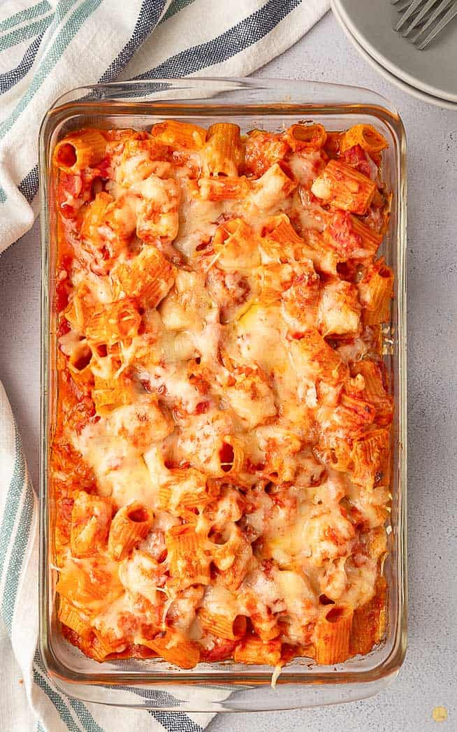 overhead picture of baked pasta in a casserole dish