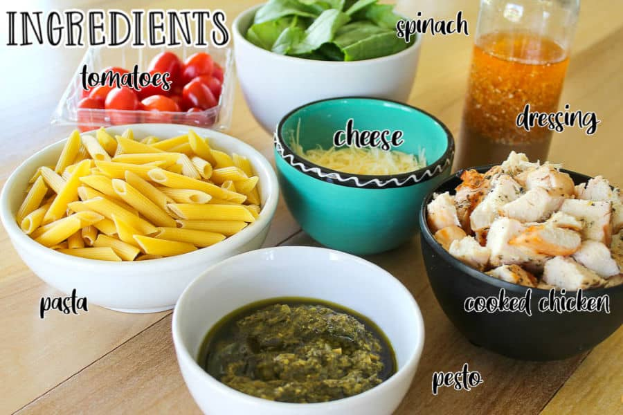 labeled picture of pesto pasta salad