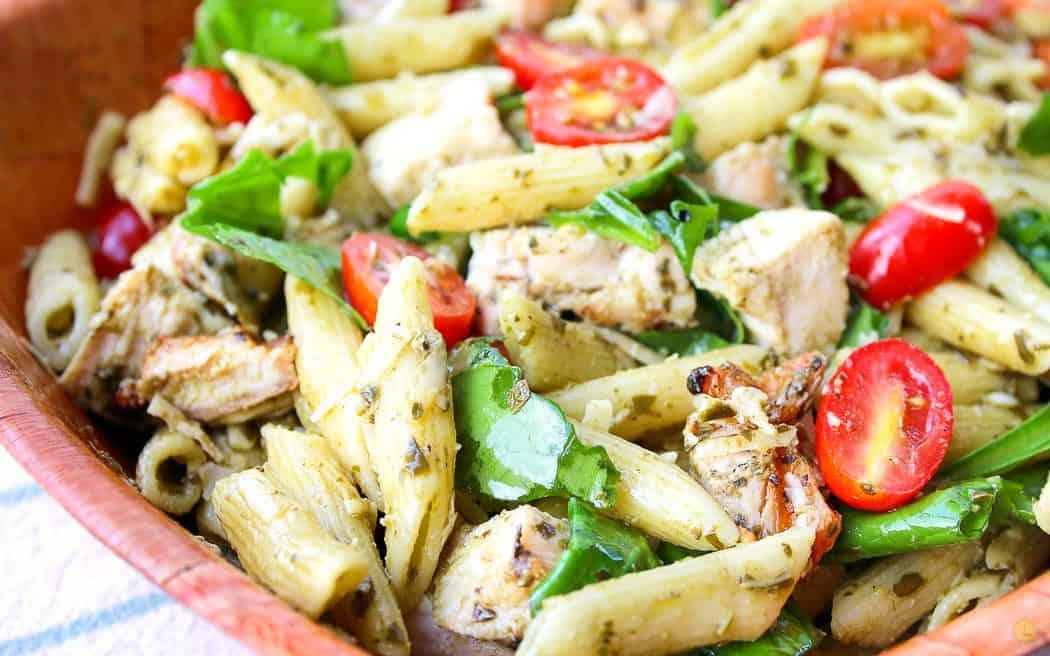 wood bowl of chicken pasta salad