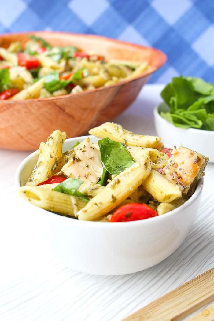 chicken pasta salad in a white bowl