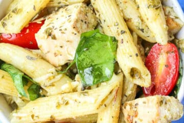 chicken pesto pasta salad recipe card