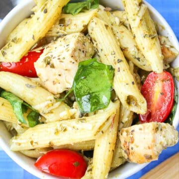 chicken pesto pasta salad recipe card