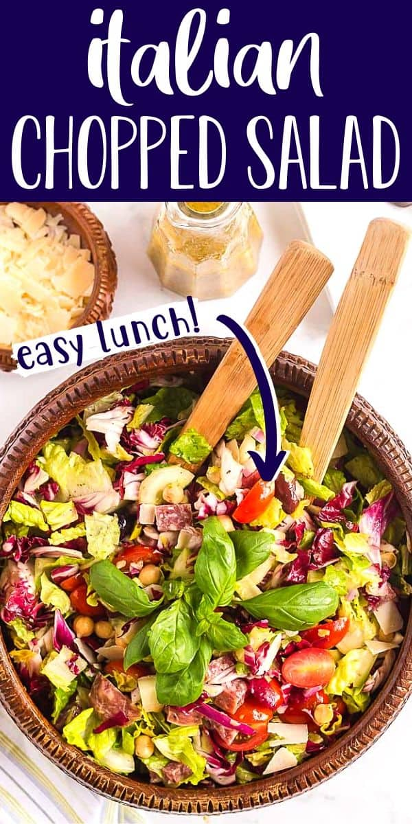 """overhead image of chopped salad for pinterest with text """"italian chopped salad"""""""