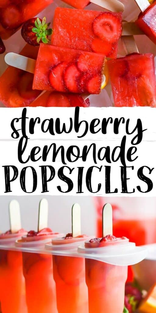 "pinterest image of strawberry lemonade popsicles with text ""strawberry lemonade popsicles"""