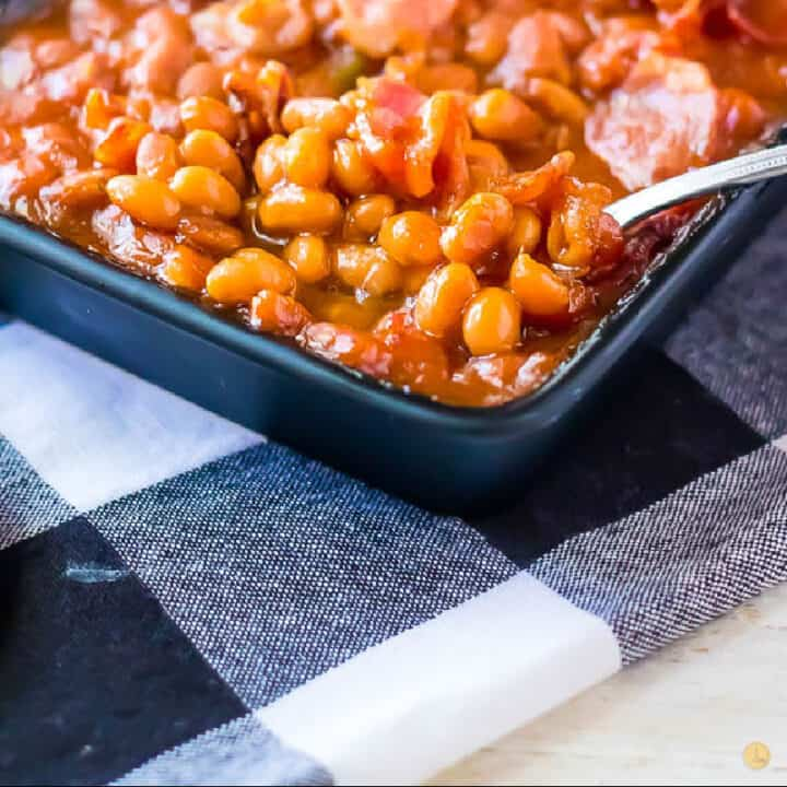 baked beans recipe card picture