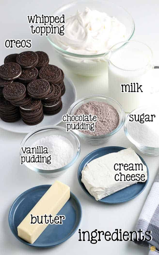 labeled picture of ingredients for chocolate lasagna