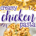 """pin collage for creamy chicken pasta with text """"instant pot"""""""