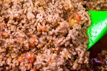 square picture of cooked taco meat for recipe card