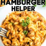"pinterest image of cheeseburger skillet with text ""homemade hamburger helper"""