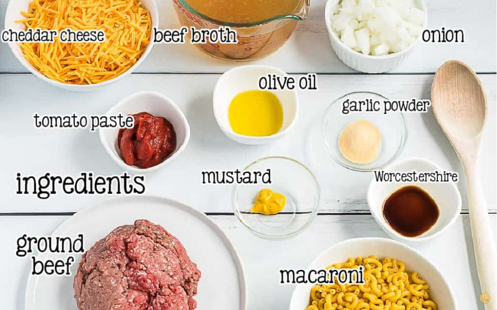 labeled pic of cheeseburger skillet ingredients