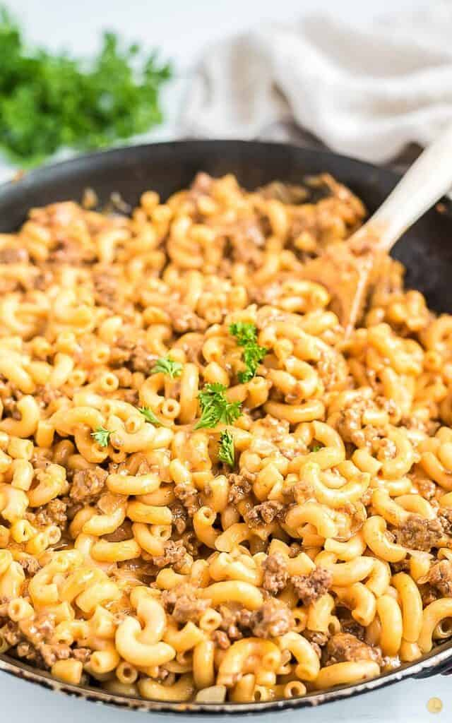 homemade hamburger helper in a skillet
