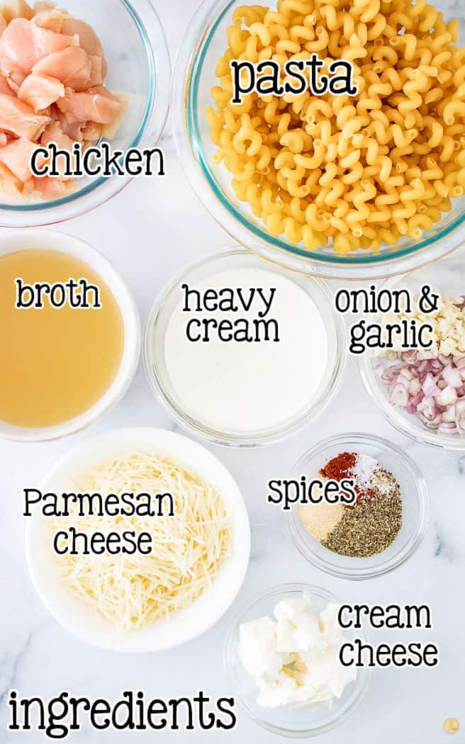 labeled pic of ingredients for Instant Pot Chicken