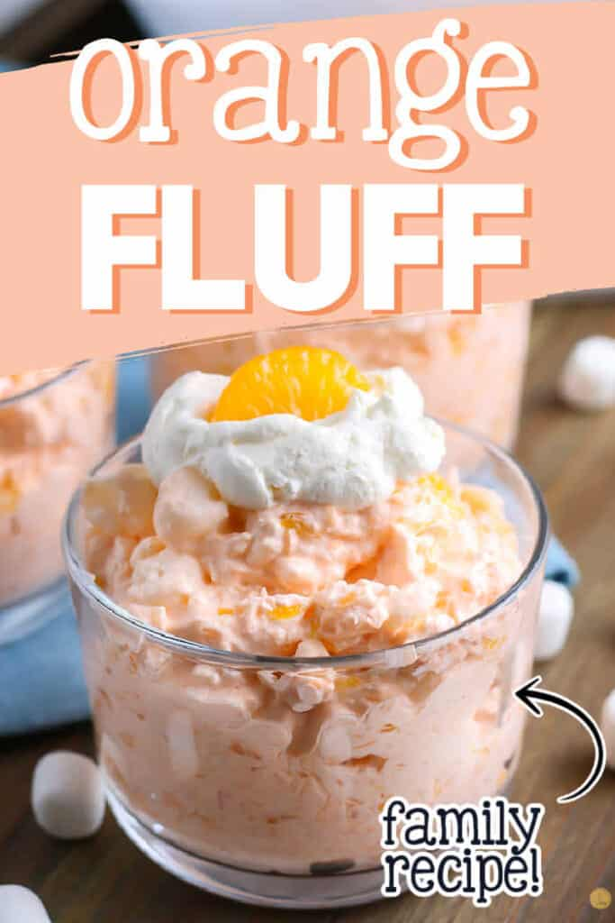 "pinterest collage with text ""creamy orange fluff salad"""