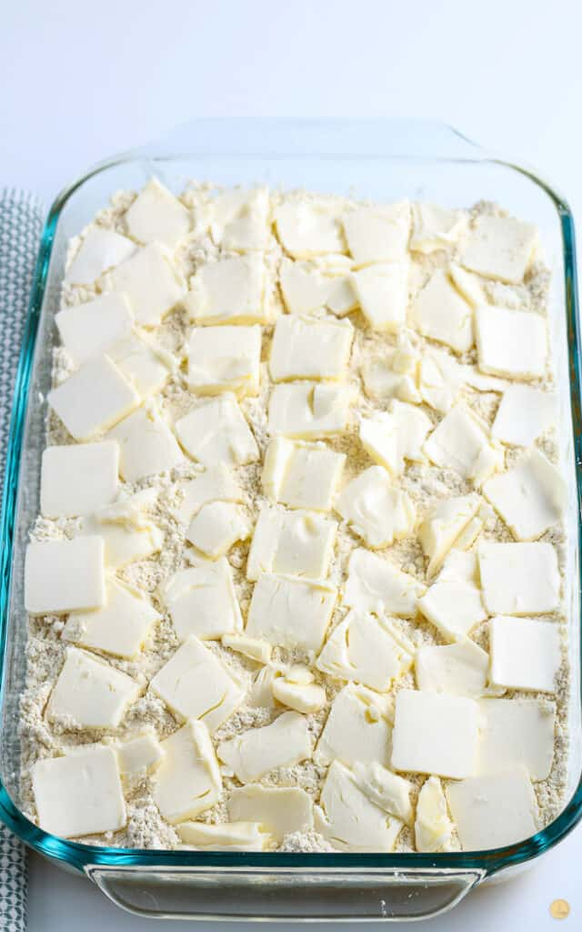 butter slices on cake mix