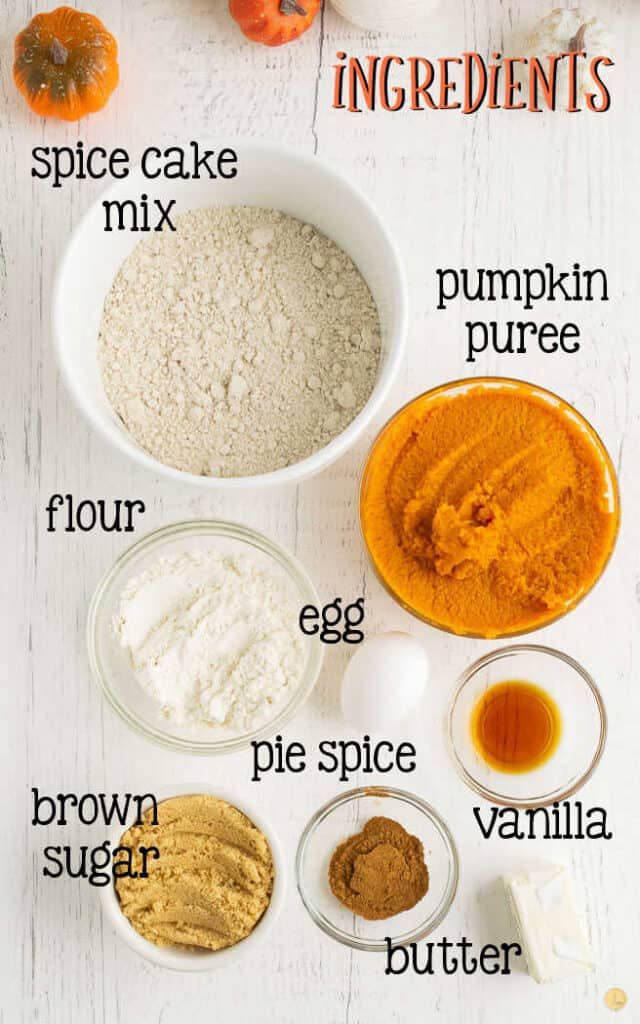 labeled picture of pumpkin bread ingredients