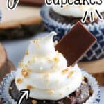 """pinterest image of smores cupcakes with text """"easy smores cupcakes"""""""