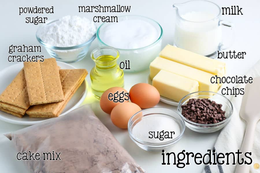 labeled picture of ingredients for cupcakes
