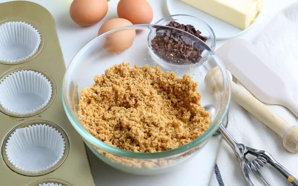 graham cracker crumb mixture in a bowl