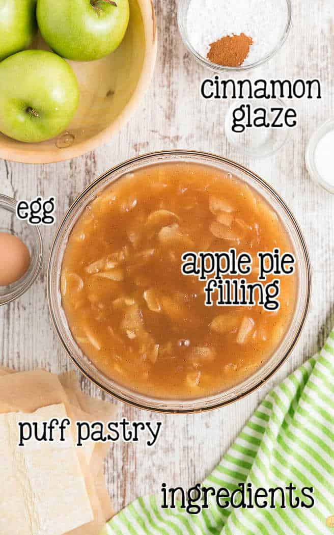 labeled picture of apple turnover ingredients