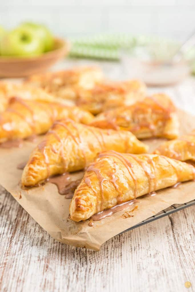 glazed turnovers on parchment paper