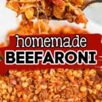 "pinterest collage with text ""homemade beefaroni"""