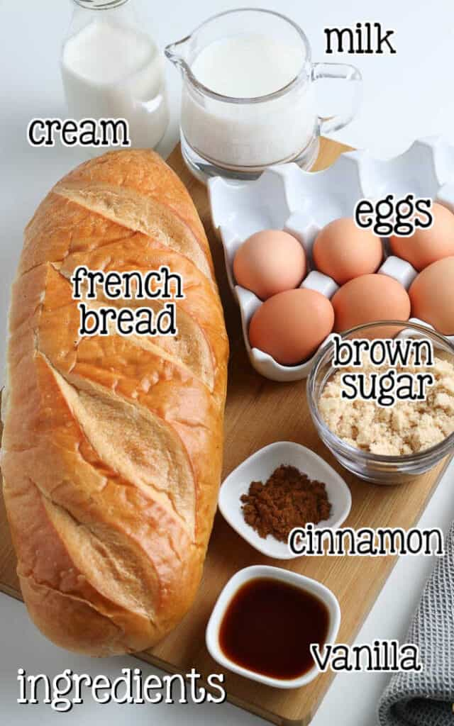 labeled picture of french toast casserole ingredients