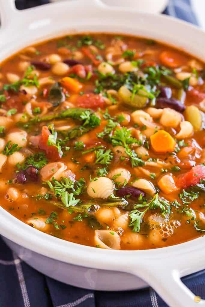 close up of pot of soup