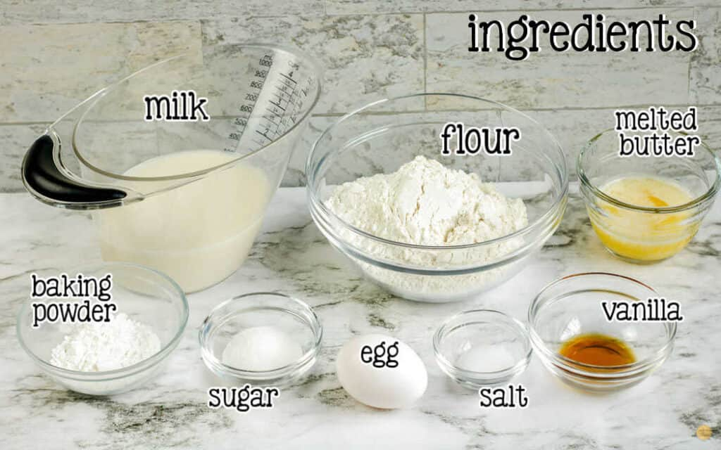 labeled picture of pancake ingredients