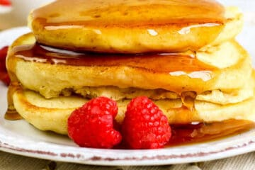 square photo of stack of pancakes