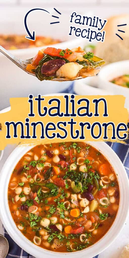 """collage of soup pictures with text """"italian minestrone family recipe"""""""