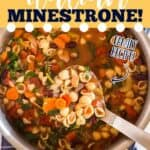 """pot of soup with text """"how to make italian minestrone"""""""