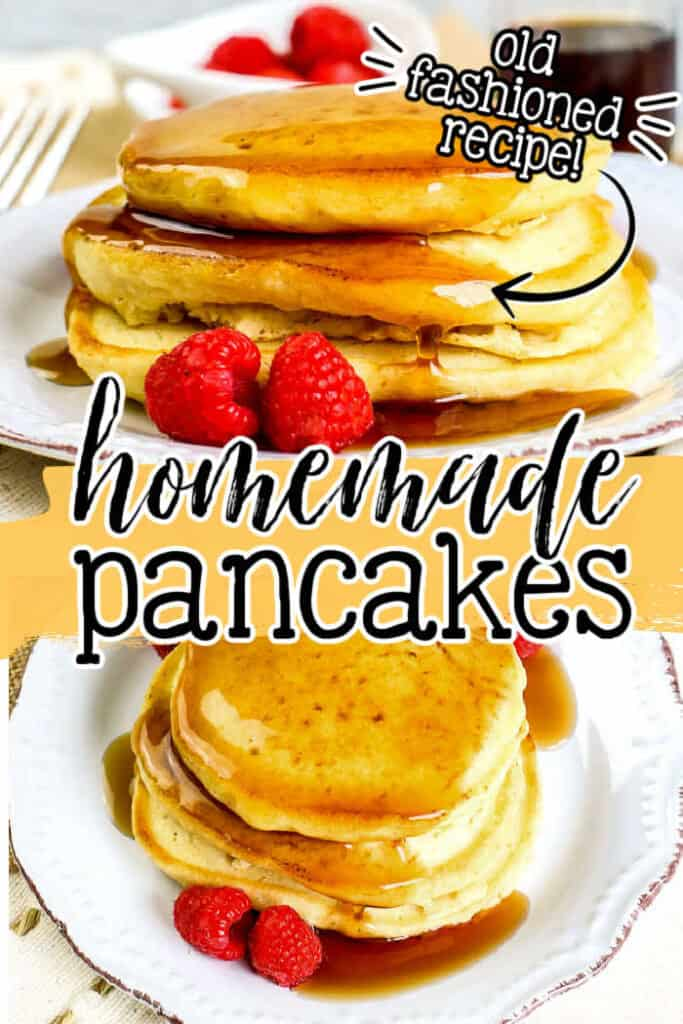 "collage of pancakes with text ""homemade pancakes"""