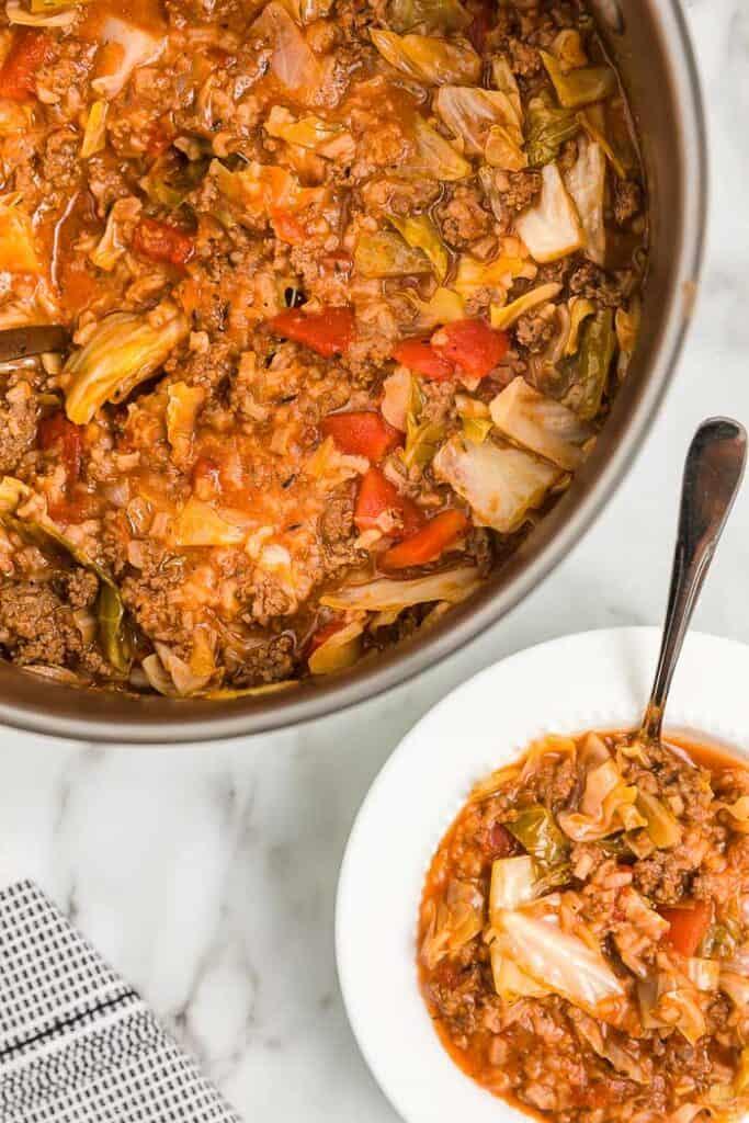 soup pot and bowl of soup