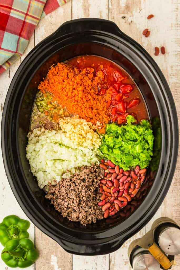 chili ingredients in a crock pot