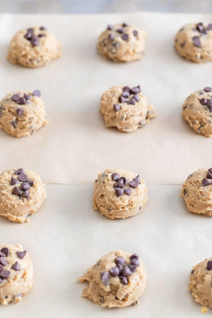 ball of cookie dough on a baking sheet