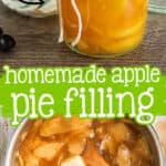"collage of pie filling with text ""homemade apple"""