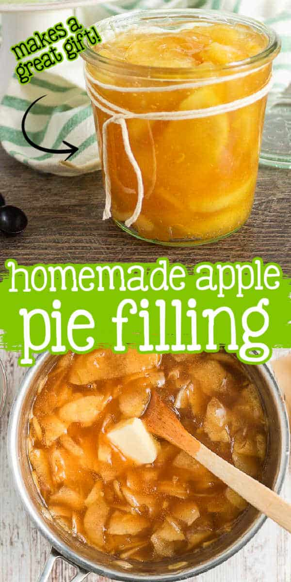 """collage of pie filling with text """"homemade apple"""""""