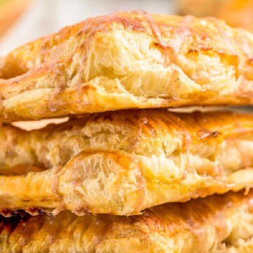 square picture of apple turnovers for recipe card