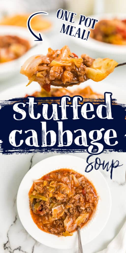 """collage of cabbage soup pics with text """"one pot meal"""""""