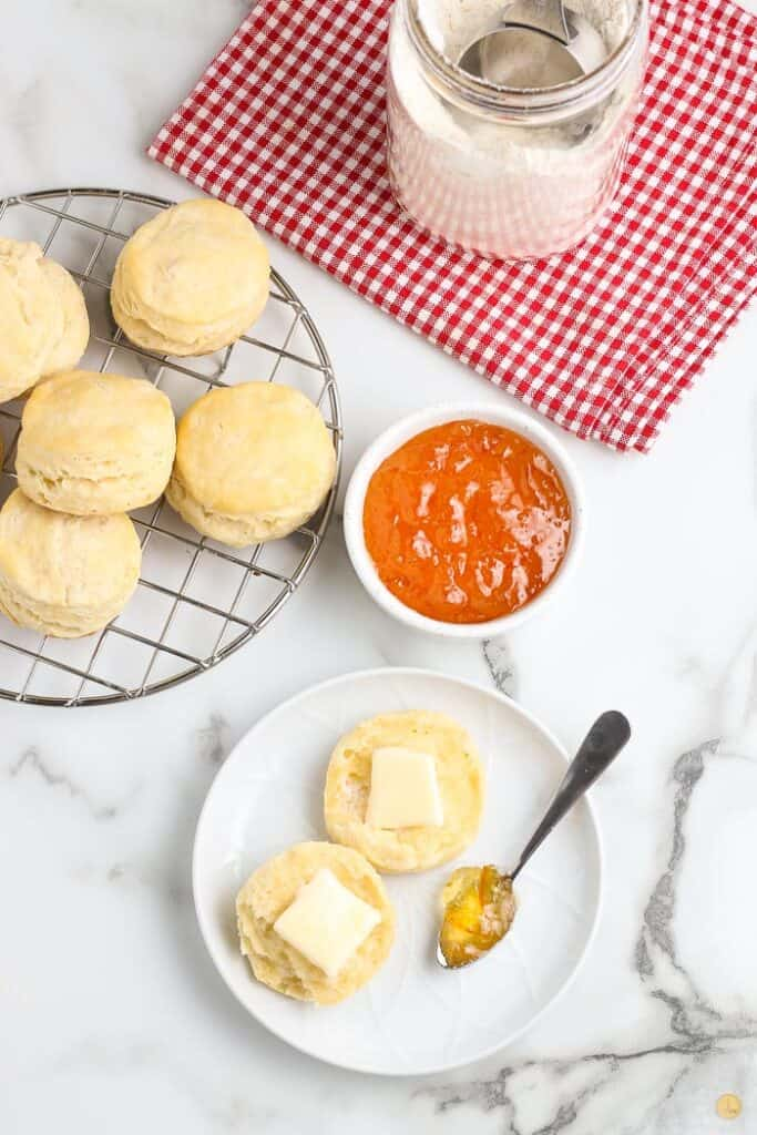 biscuits and jam on a plate