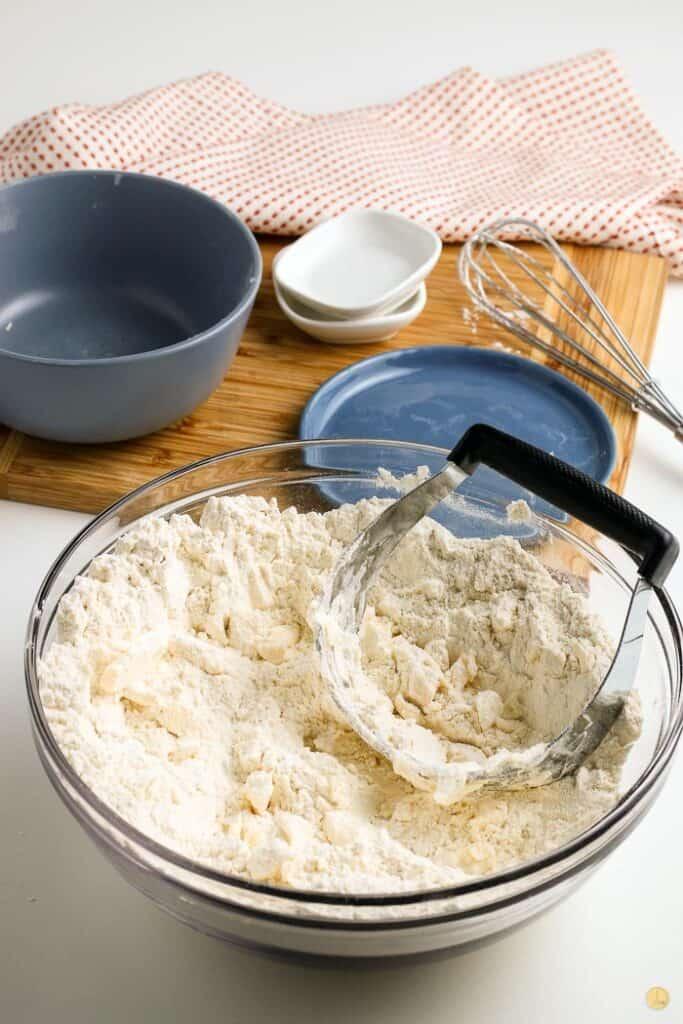 baking mixes in a bowl.