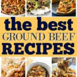 "collage of recipes with text ""ground beef"""