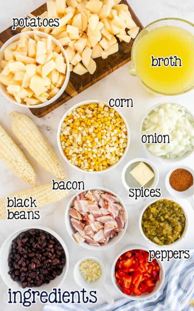 labeled picture of corn chowder ingredients