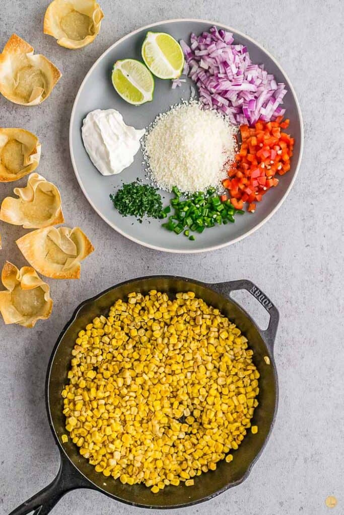 skillet with corn