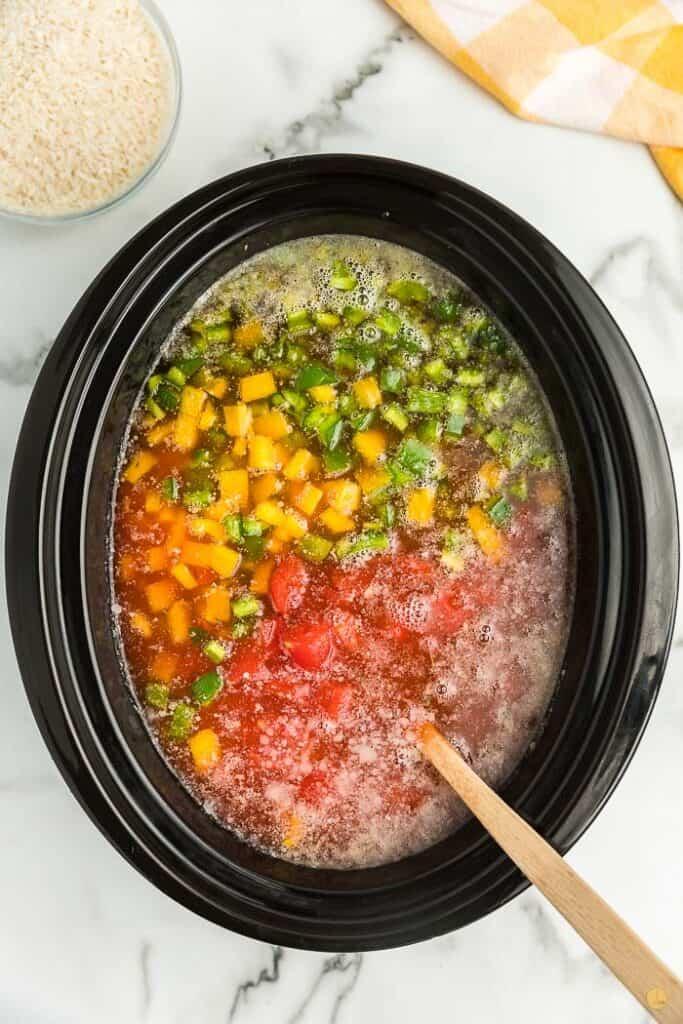 soup in a crock pot bowl