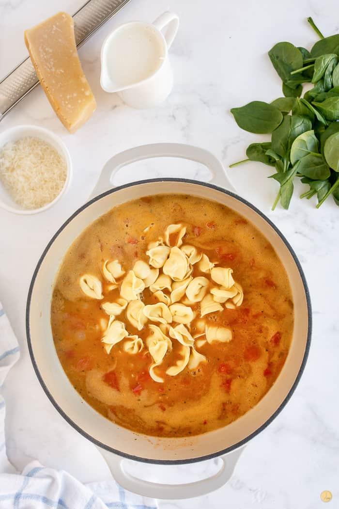 tortellini in a soup pot